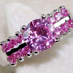 Jewelry - 2CT Pink Sapphire Ring  .925 Sterling Silver
